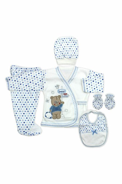 Blue Teddy Bear Newborn Baby 5 Li Hospital Outlet Set K2271