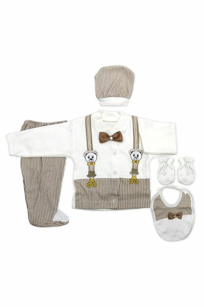 Teddy Bear Coffee Bow Tie Newborn Infant 5 Li Hospital Outlet Set K2151