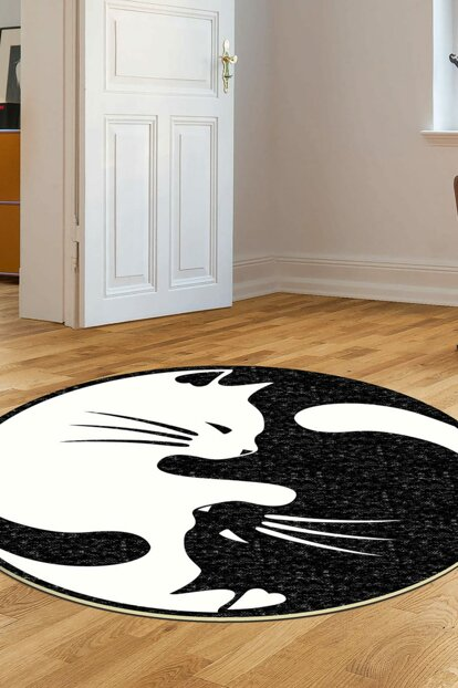 80x80 Dekoreko Figured Round Custom Cut Carpet 114 Black White AKC_Eugene-V3_4660_1