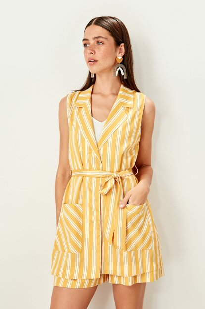 Mustard Striped Vest TWOSS19WX0104