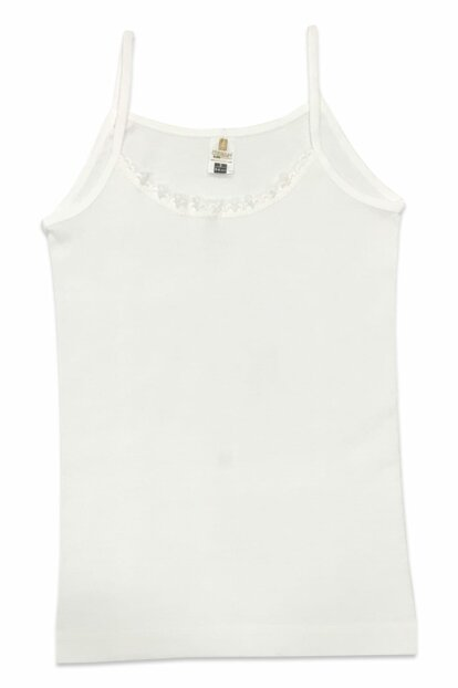 Girl Kids White Ribbon Ruched Rope Suspender Singlet 0806