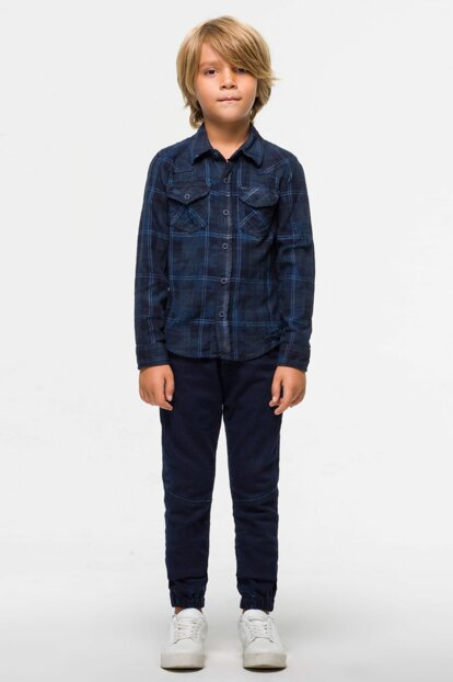 Boy Jean Shirt Rohan B Navy Rusty Plaid Wash 0300926060139875081601