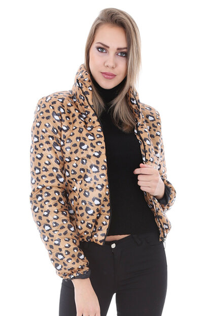 Women Leopard Pattern Mustard Restraint Collar Inflatable Coats 5073BGD19_073