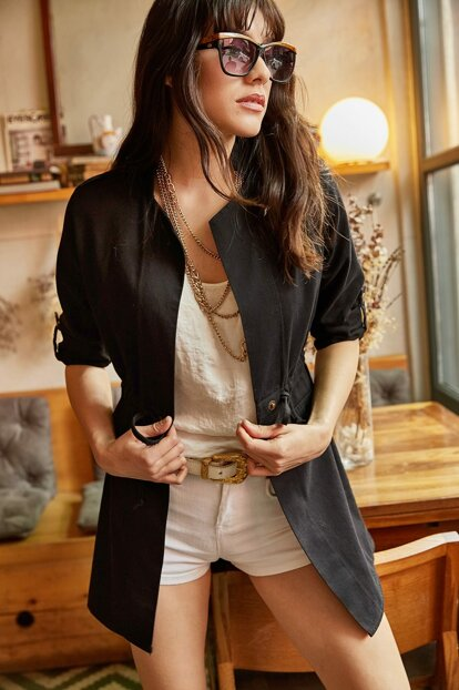 Women's Black Sleeve Folded Accessory Pocket Gabardine Jacket CKT-19000047