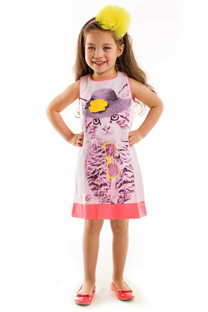Pink Girl Kid Cocktail Cat Dress Cff-14Yelb-Ked CFF-14YELB-KED