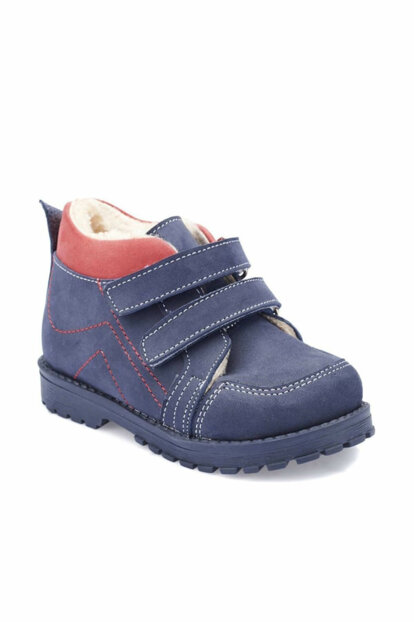 Navy Blue Boys Leather Boots 000000000100331565