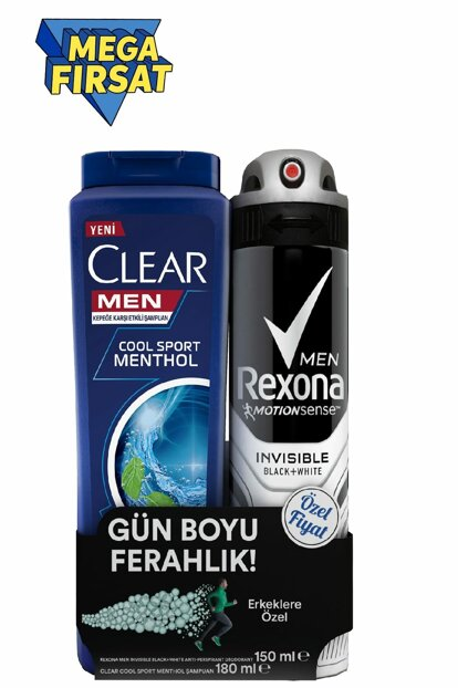 Men's Deodorant Spray Invisible Black White 150ml + Clear Men Shampoo Cool Sport 180ml 8690637863752