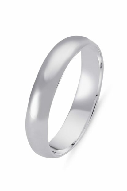 Women's Silver 925 Sterling 4mm Curved Plain Wedding Ring WR82665