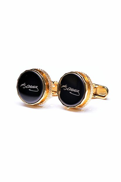 Men's Golden Yellow Mustafa Kemal Atatürk Signed Cufflink KD766 KRVT8690002221477