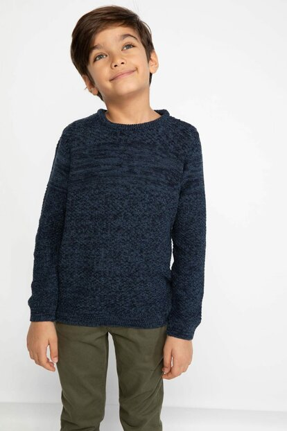 Navy Blue Young Man Sweater Pullover I9093A6.18AU.NV128