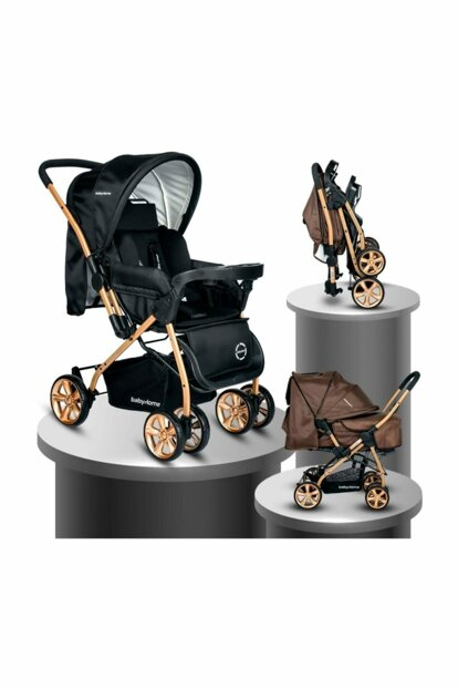Baby Home Bh-760 Gold Bidirectional Baby Carriage Black 018-040-545