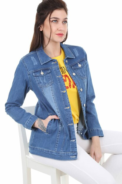 Women's Light Blue Denim Jacket with Pockets 0613BGD19_084