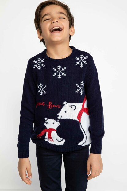 Christmas Themed Printed Sweater Pullover J0627A6.18WN.BE458