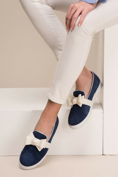 Genuine Leather Blue Women Shoes 120130002280