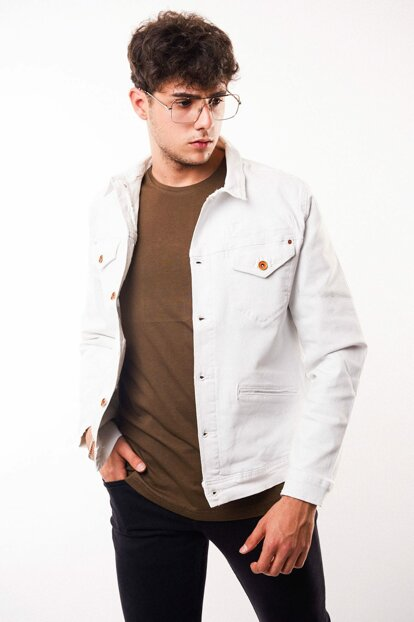 Copper Buttoned White Men's Denim Jacket - d10983