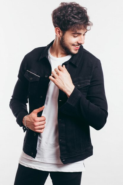 Double Pocket Stripe Detail Black Mens Denim Jacket-l10869