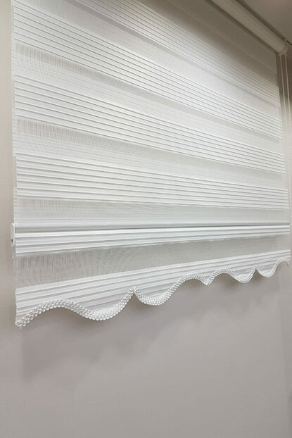 120 x 200 Pleated Roller Blind Zebra Curtain White MZ480