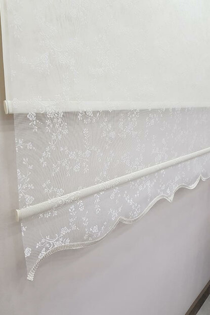 160X200 Double Mechanism Tulle Curtain and Roller Blinds MT4003 8605480999186