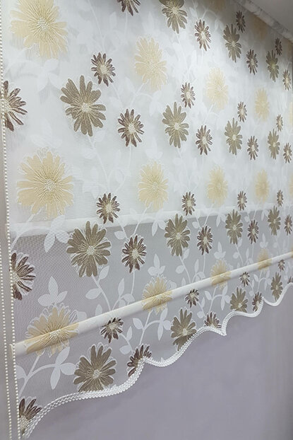 90X200 Double Mechanism Tulle Curtain and Roller Blinds MT1032 8605480826330