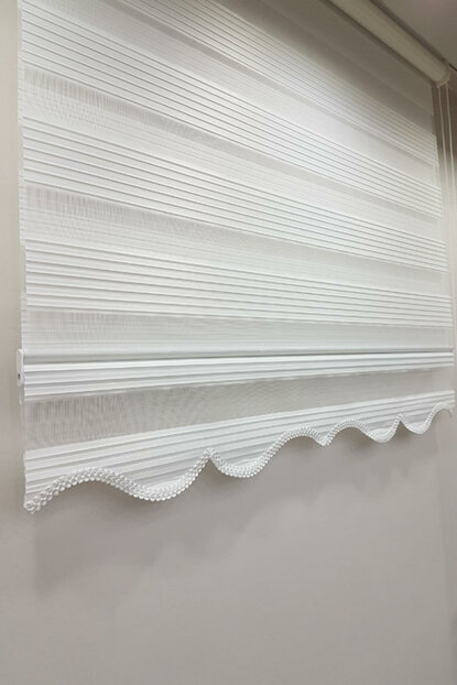 150 x 260 Pleated Roller Blind Zebra Curtain White MZ480 8605480593778