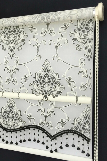 Double Mechanism 200X200 Hurrem Cream Silvery Skirted Tulle Roller Blinds 200X200-EV-BY-SAG-001HRR-03