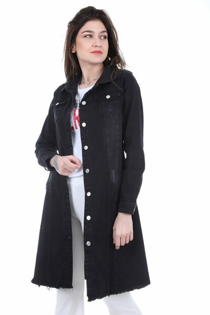 Women Black Skirt Tassel Long Denim Jacket 0618BGD19_001