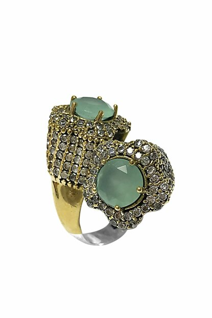 Women's Jade Cubic Zirconia Authentic Sterling Silver Ring 2020555