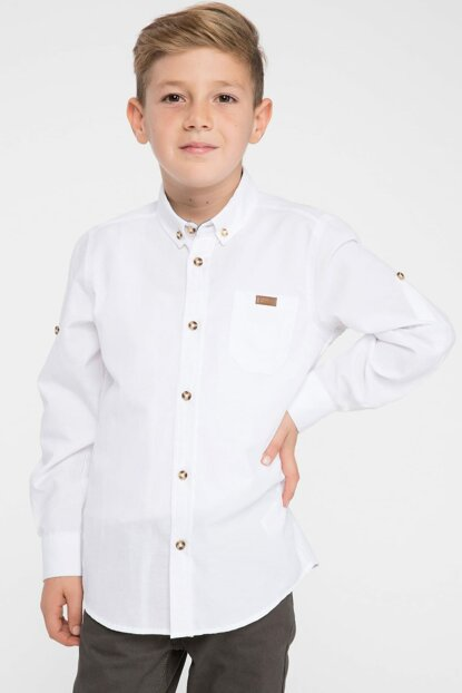 White Young Man Single Pocket Long Sleeve Oxford Shirt K2158A6.19SP.WT34
