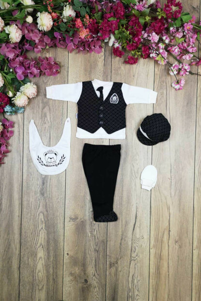 Powdered Men's Diamond Patterned Tie 5 Pieces Hospital Outlet Layette Set 14401