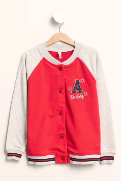 Red Young Girl Snap Fastener Bomber Jacket J4658A6.18AU.RD286