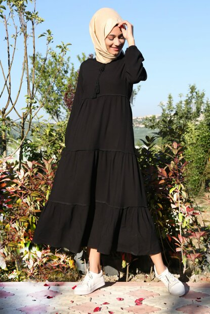 Women's Solid Black Collar Lace Hijab Dress 1627BGD19_281