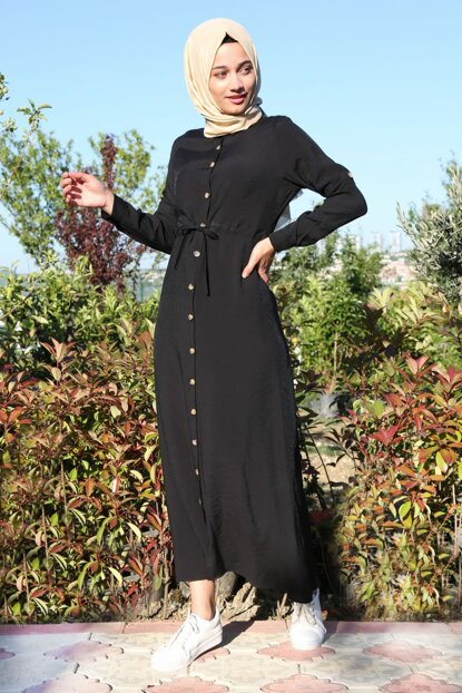 Women's Black Halter-Neck Waist Rope Binding Hijab Dress 1668BGD19_001