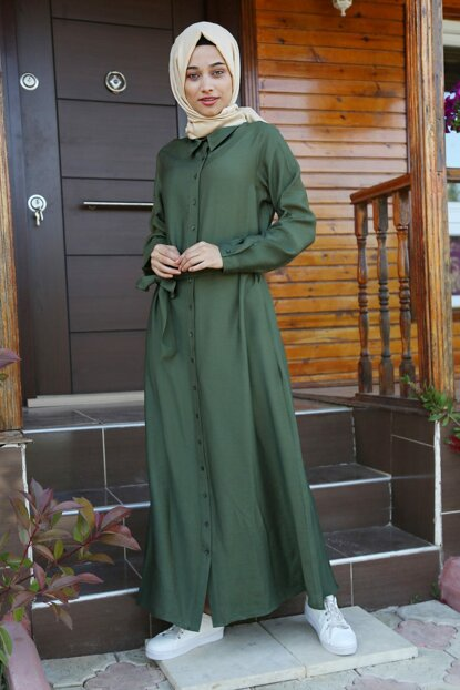 Women's Khaki Waist Belt Hijab Dress 10225BGD19_004