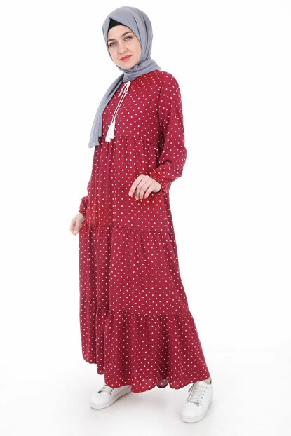 Women Polka Dot Burgundy Neckline Lace Hijab Dress 1627BGD19_193