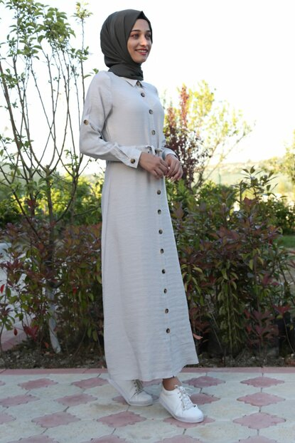 Women Beige Halter Button Waist Rope Lashing Hijab Dress 1668BGD19_016