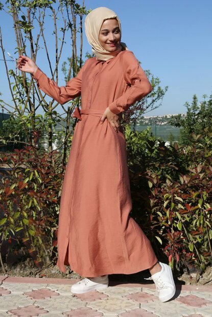 Women's Rose Dried Waist Girdle Length Button Hijab Dress 10225BGD19_189
