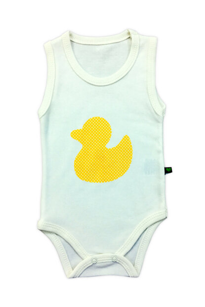 White Unisex Baby Duck Body with Suspender Snaps A6829