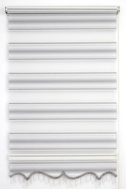 200X200 Tengo Zebra Curtain Balm Gray Pleated Silvery Skirt Beaded Roller Blinds 200X200-EV-BV-SAG-001MLS-04