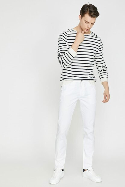 Men's White Trousers 9YAM42505BW