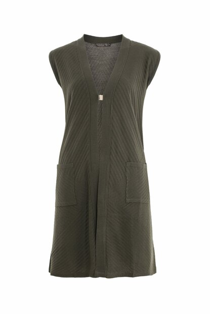 Women's Khaki Short Pockets Gilet 2408