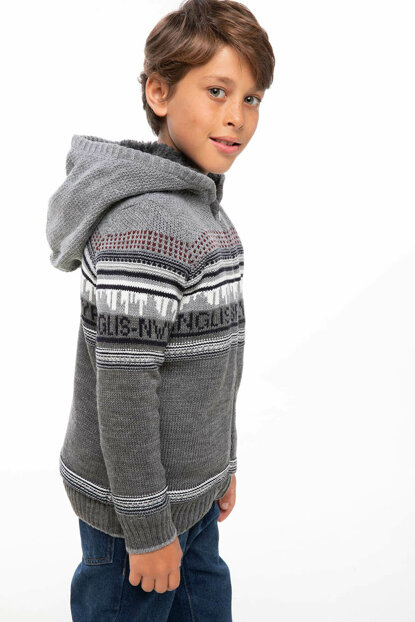 Hooded Patterned Cardigan I9214A6.18AU.GR228