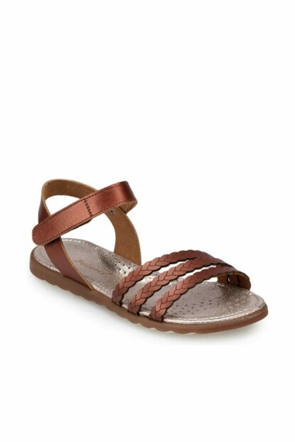 Brown leather girls sandals 000000000100368353