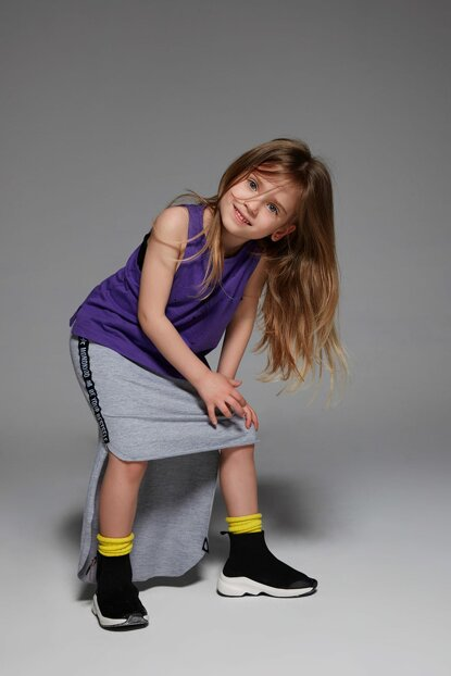 Girl Kids Tigo Track Skirt Gray MKSQT9001