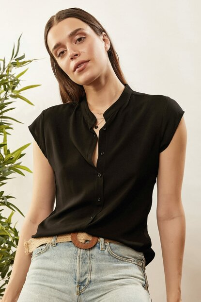 Women's Black Crew Neck Viscose Shirt 3711 DD00058