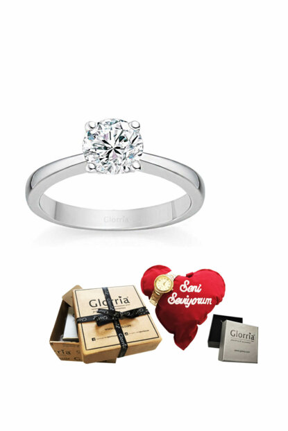 Women's Silver Engagement Ring - GIFT SET DT0213-HS