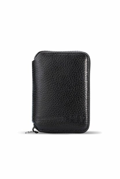 Men's Genuine Leather Zipper Wallet Black 796
