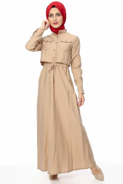 Women's Beige Dress 00218YBELB01025
