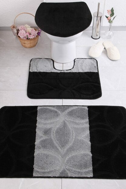 Erdek 60x100 50x60 47x50 cm BQF Black Bathroom Carpet CONMM8670318079092