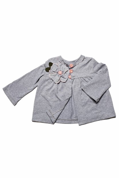 Gray Floral Detail Front Buttoned Cardigan MG.H01-2