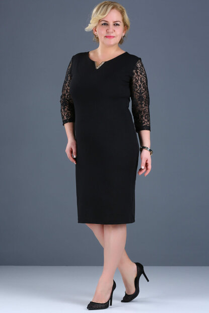 Women's Black Sleeves Lace Processing Back Button Detail Evening Dress ELB000136818